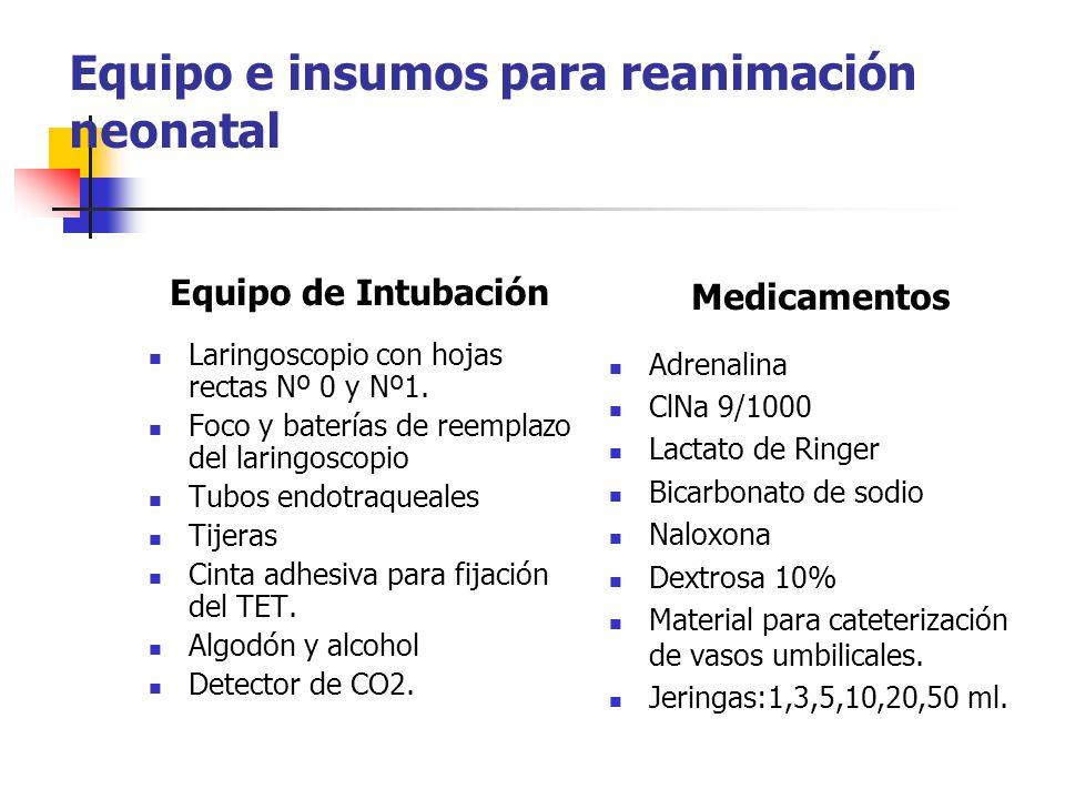 Equipo e insumos para reanimación neonatal