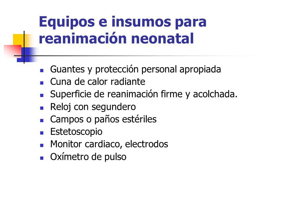 Equipos e insumos para reanimación neonatal