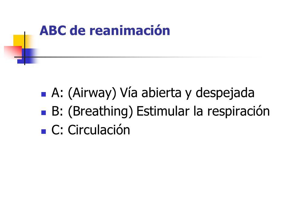 ABC de reanimación A: (Airway) Vía abierta y despejada.
