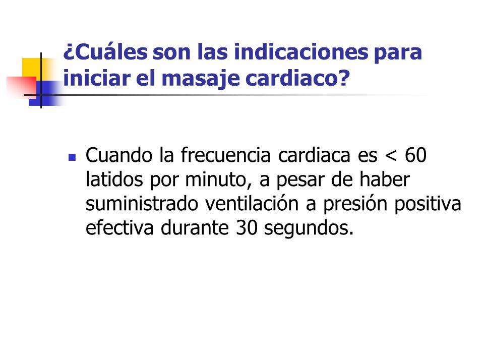 ¿Cuáles son las indicaciones para iniciar el masaje cardiaco