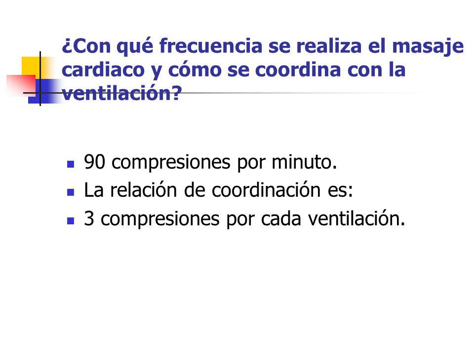 ¿Con qué frecuencia se realiza el masaje cardiaco y cómo se coordina con la ventilación