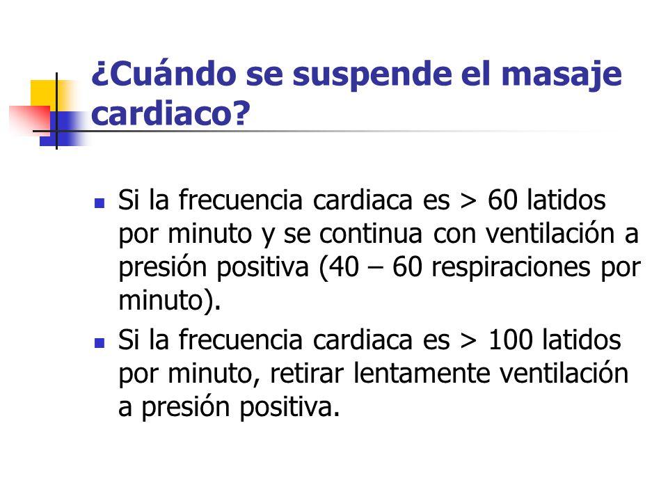 ¿Cuándo se suspende el masaje cardiaco