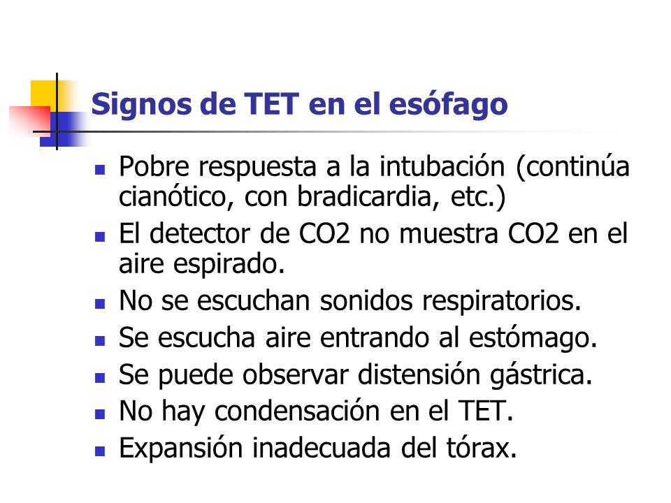 Signos de TET en el esófago