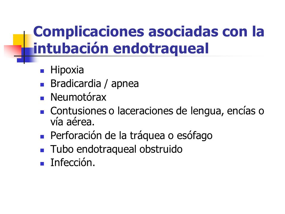 Complicaciones asociadas con la intubación endotraqueal