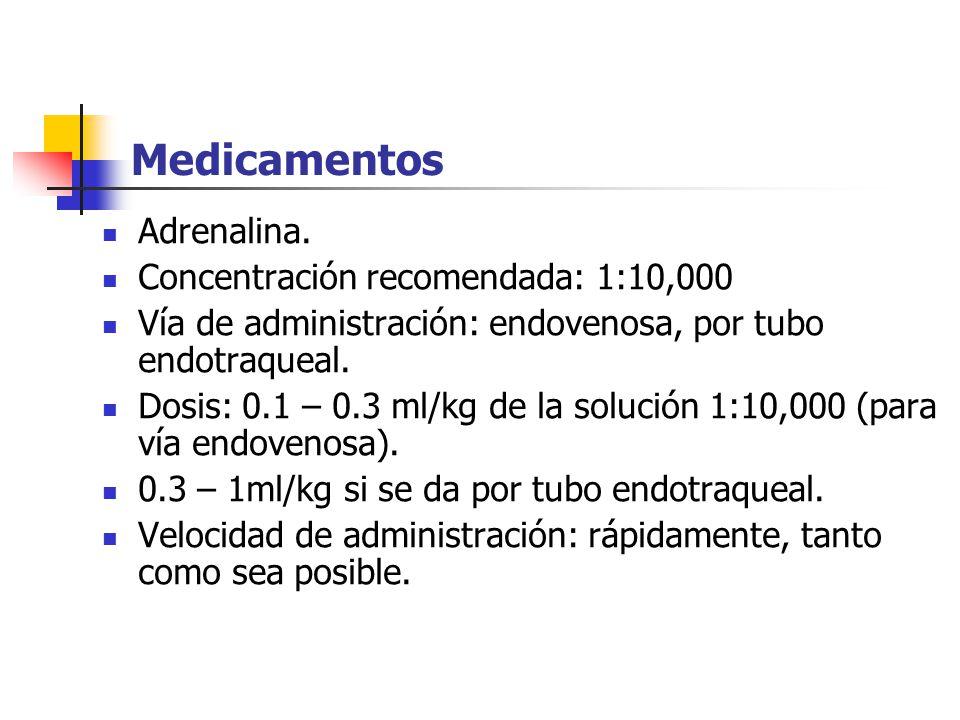 Medicamentos Adrenalina. Concentración recomendada: 1:10,000