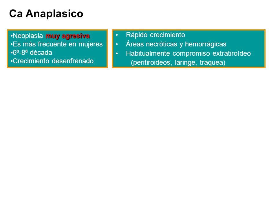 Ca Anaplasico Neoplasia muy agresiva Es más frecuente en mujeres