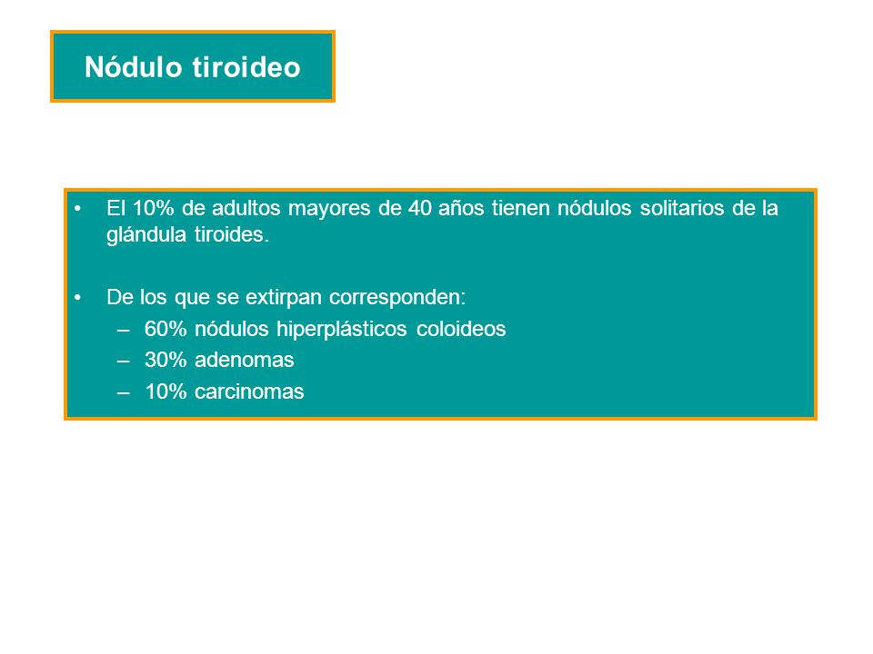 Nódulo tiroideo El 10% de adultos mayores de 40 años tienen nódulos solitarios de la glándula tiroides.
