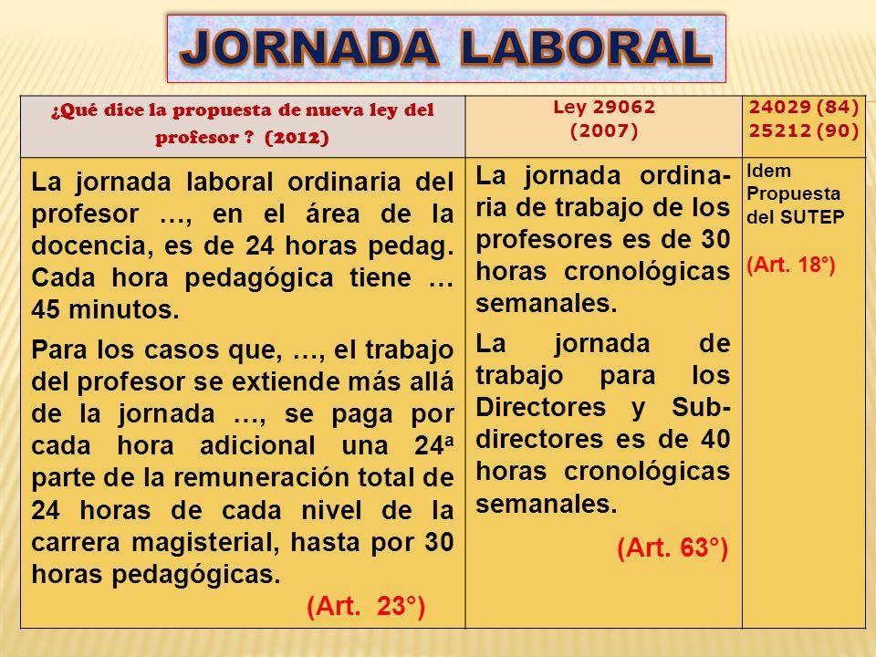 ¿Qué dice la propuesta de nueva ley del profesor (2012)