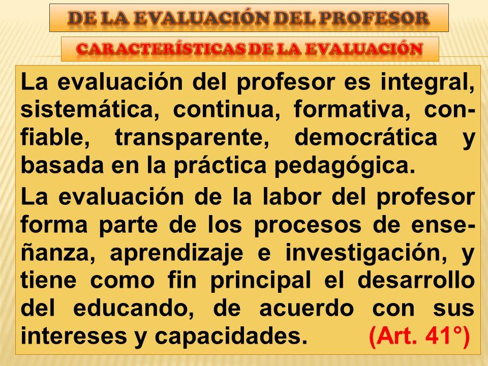 De la evaluación del profesor