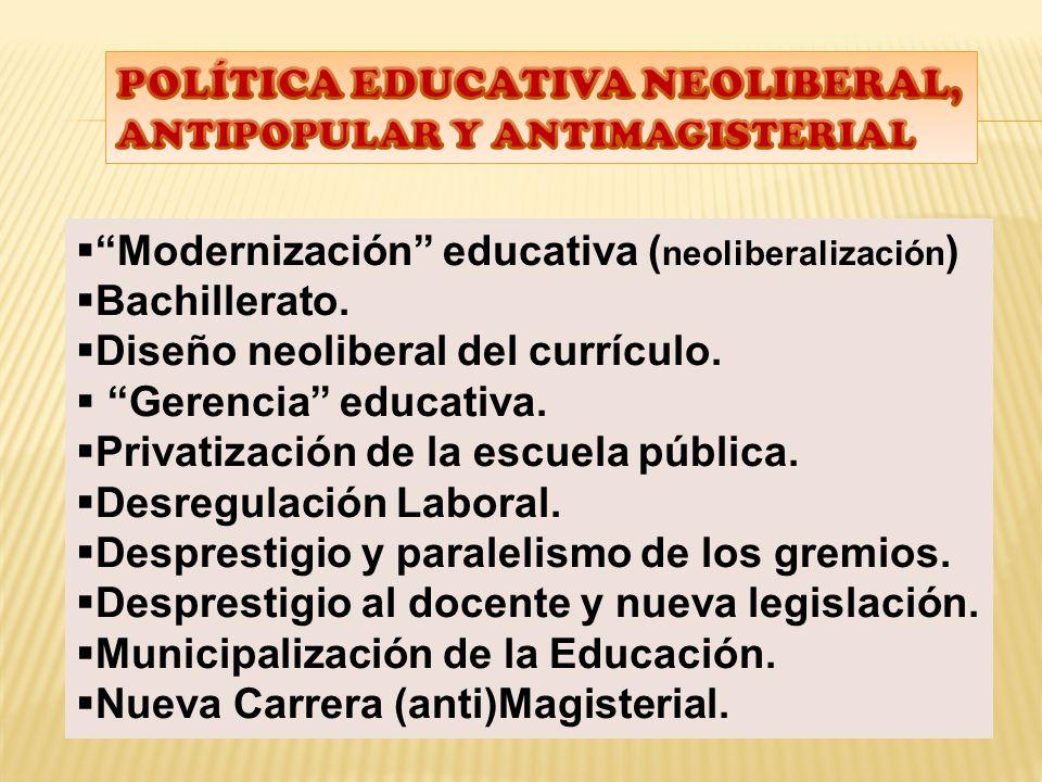 POLÍTICA EDUCATIVA NEOLIBERAL, ANTIPOPULAR Y ANTIMAGISTERIAL
