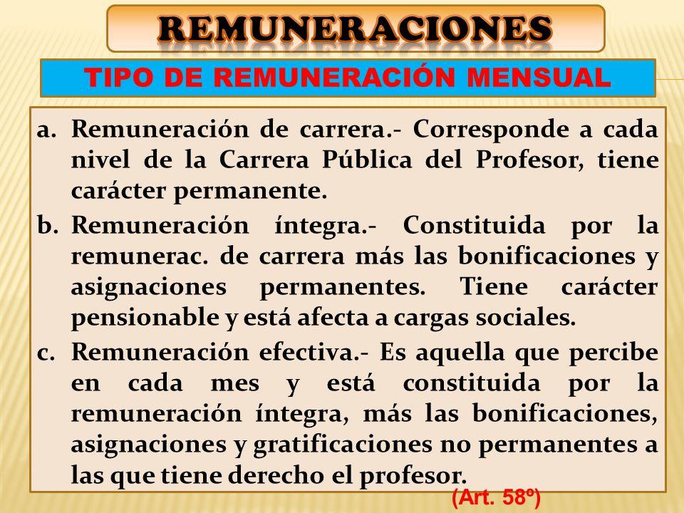 TIPO DE REMUNERACIÓN MENSUAL
