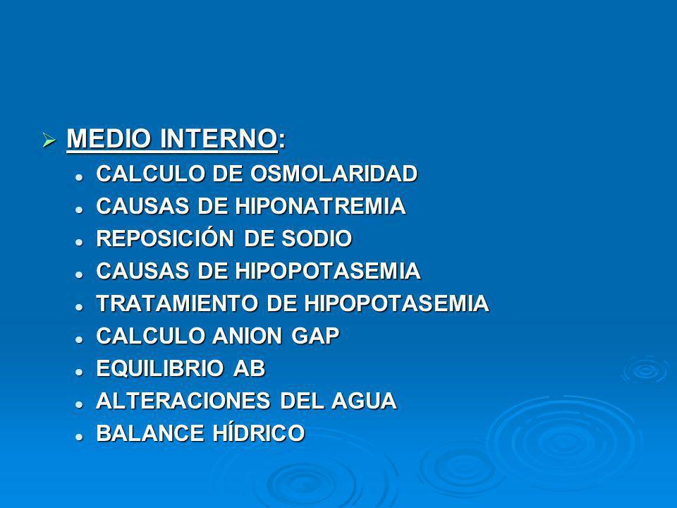 MEDIO INTERNO: CALCULO DE OSMOLARIDAD CAUSAS DE HIPONATREMIA