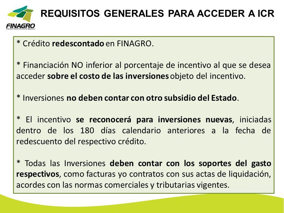 REQUISITOS GENERALES PARA ACCEDER A ICR