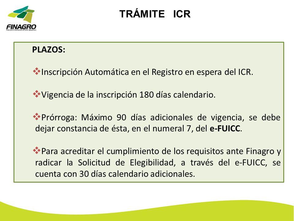 TRÁMITE ICR PLAZOS: Inscripción Automática en el Registro en espera del ICR. Vigencia de la inscripción 180 días calendario.