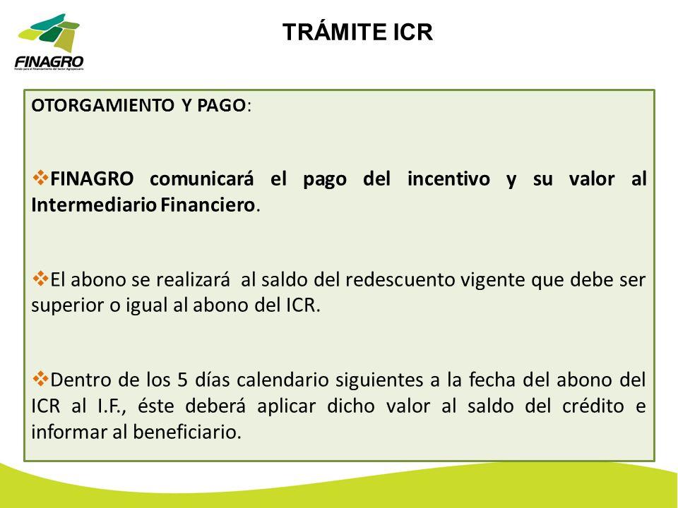 TRÁMITE ICROTORGAMIENTO Y PAGO: FINAGRO comunicará el pago del incentivo y su valor al Intermediario Financiero.
