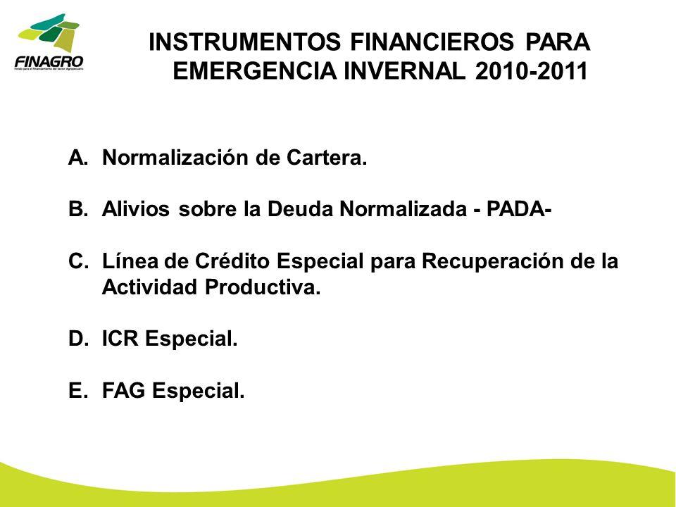 INSTRUMENTOS FINANCIEROS PARA EMERGENCIA INVERNAL 2010-2011
