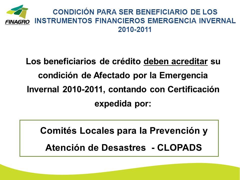 Comités Locales para la Prevención y Atención de Desastres - CLOPADS