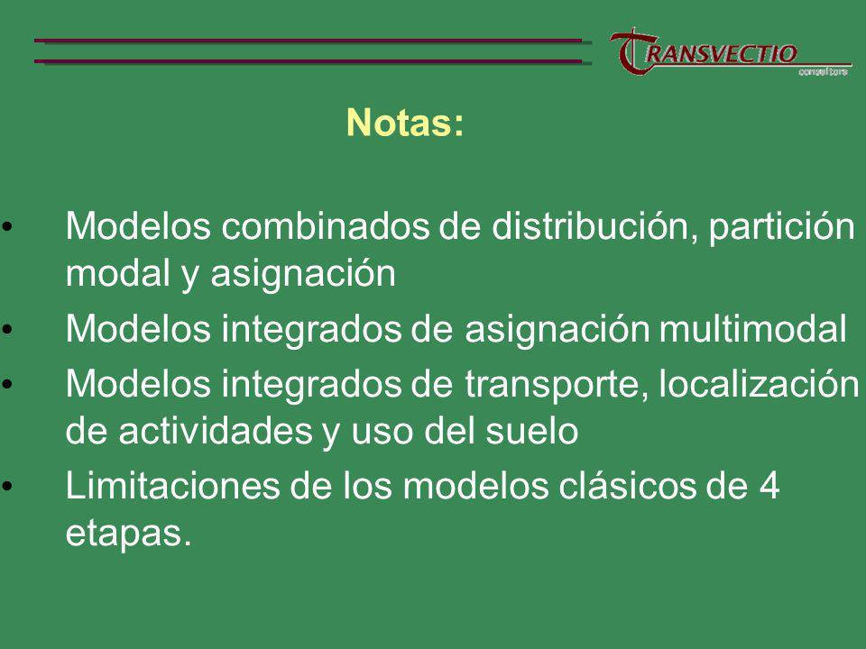 Notas: Modelos combinados de distribución, partición modal y asignación. Modelos integrados de asignación multimodal.