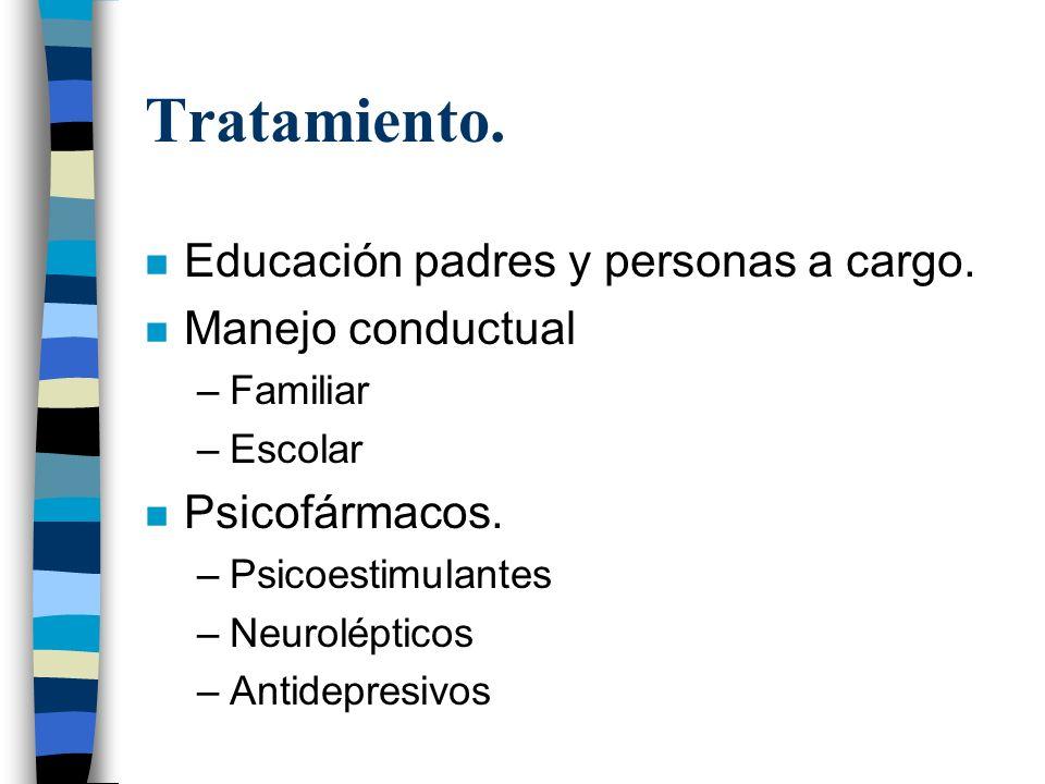 Tratamiento. Educación padres y personas a cargo. Manejo conductual