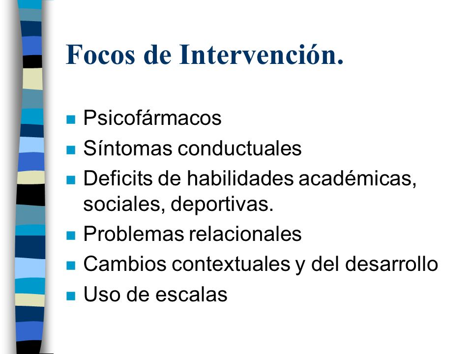 Focos de Intervención. Psicofármacos Síntomas conductuales