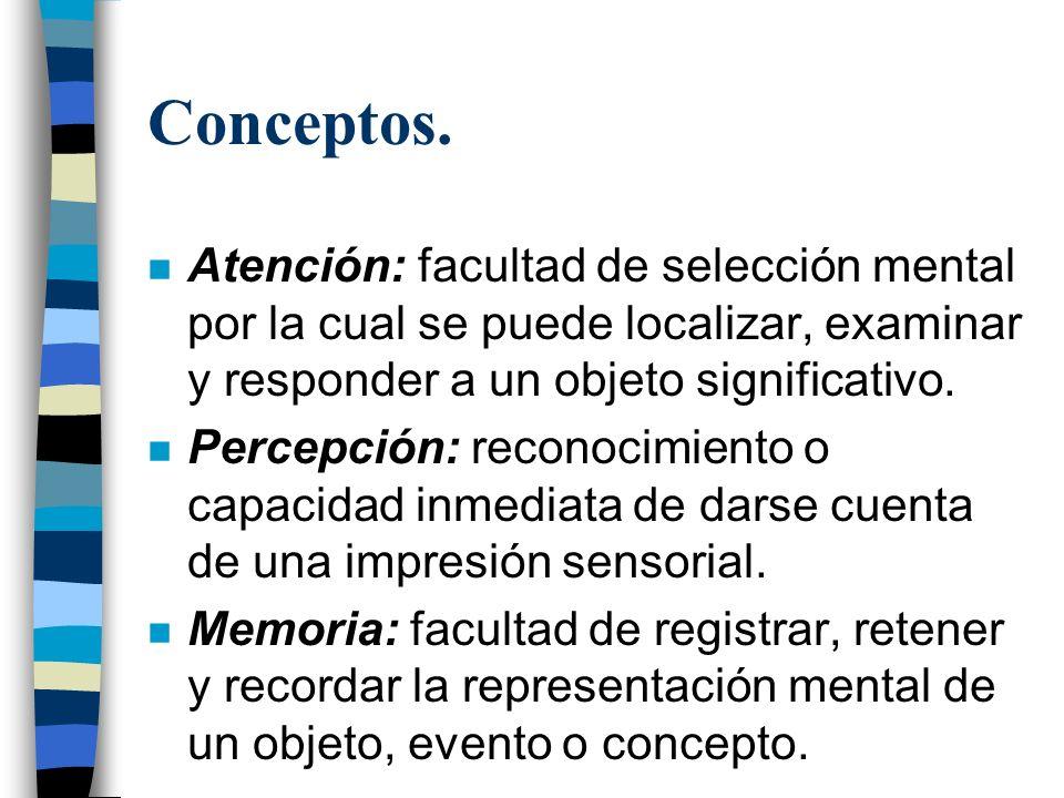 Conceptos. Atención: facultad de selección mental por la cual se puede localizar, examinar y responder a un objeto significativo.