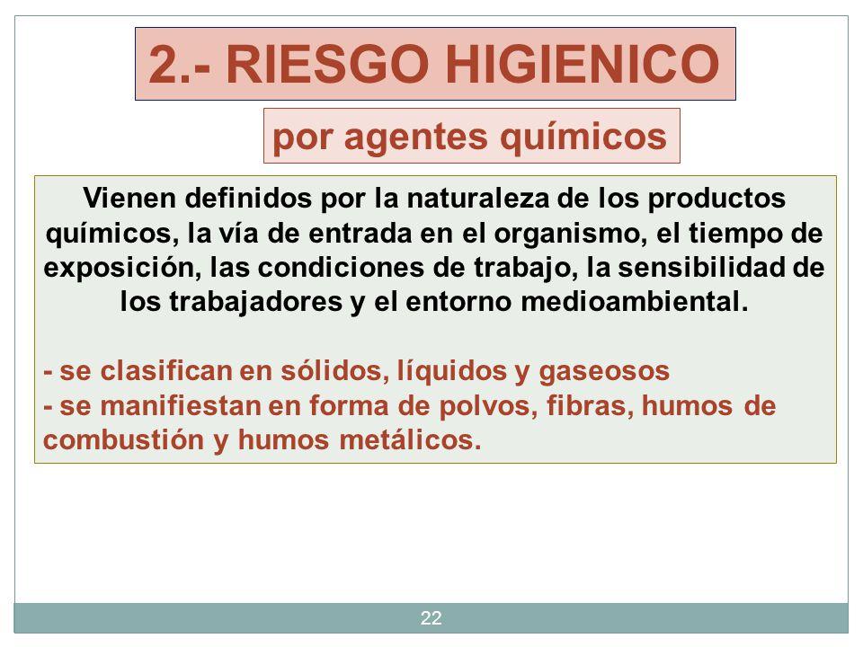 2.- RIESGO HIGIENICO por agentes químicos