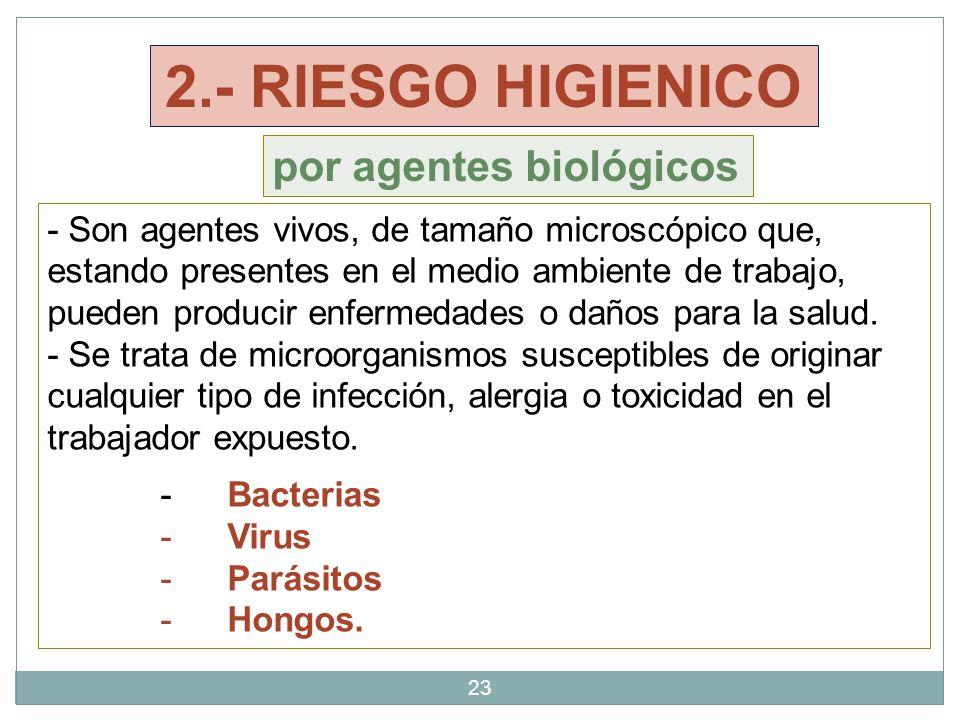 2.- RIESGO HIGIENICO por agentes biológicos