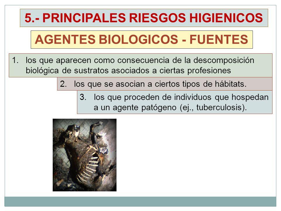 5.- PRINCIPALES RIESGOS HIGIENICOS AGENTES BIOLOGICOS - FUENTES