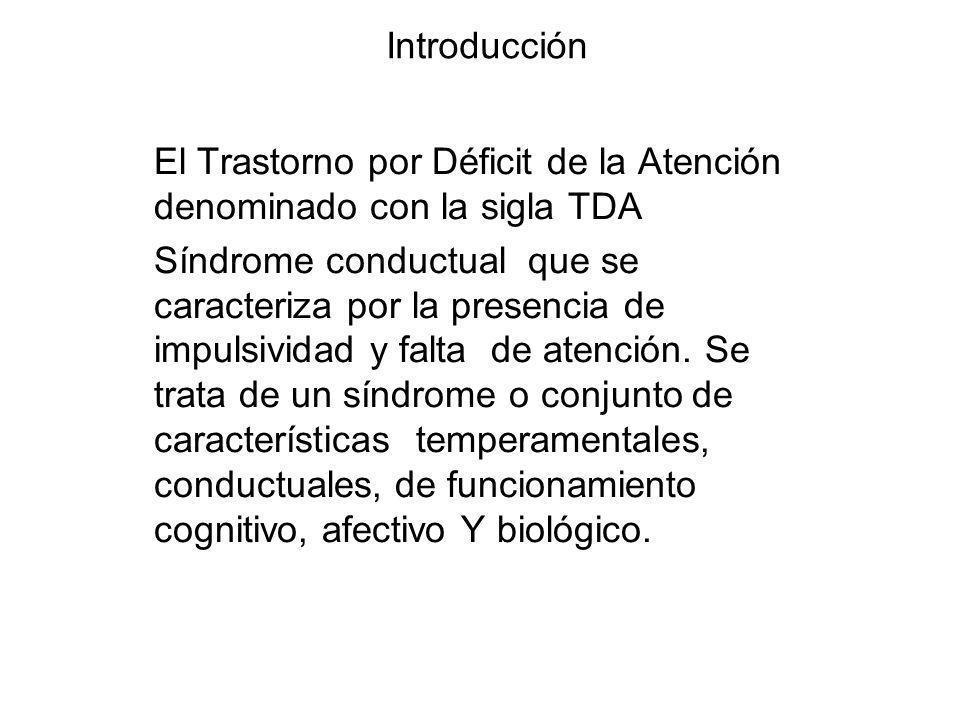 Introducción El Trastorno por Déficit de la Atención denominado con la sigla TDA.