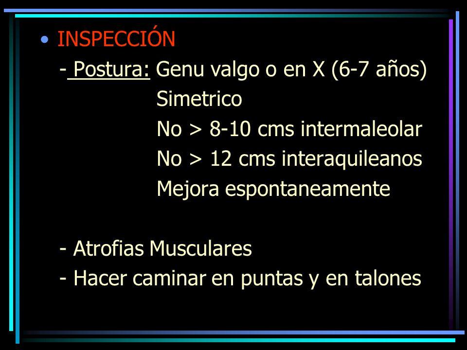 INSPECCIÓN - Postura: Genu valgo o en X (6-7 años) Simetrico. No > 8-10 cms intermaleolar. No > 12 cms interaquileanos.
