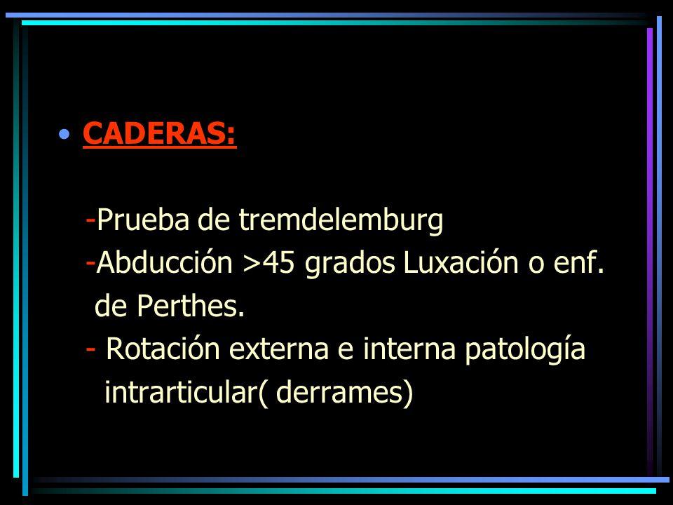 CADERAS: -Prueba de tremdelemburg. -Abducción >45 grados Luxación o enf. de Perthes. - Rotación externa e interna patología.