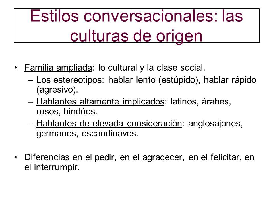 Estilos conversacionales: las culturas de origen