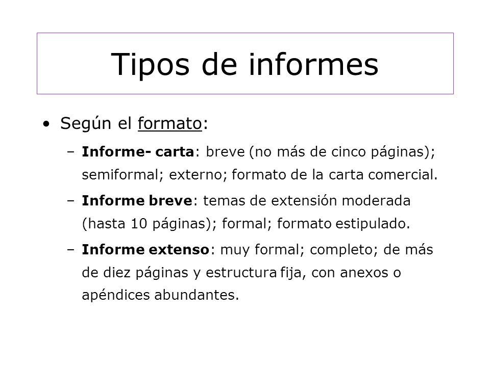 Tipos de informes Según el formato: