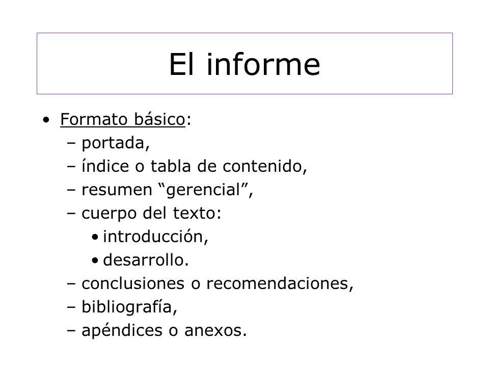 El informe Formato básico: portada, índice o tabla de contenido,