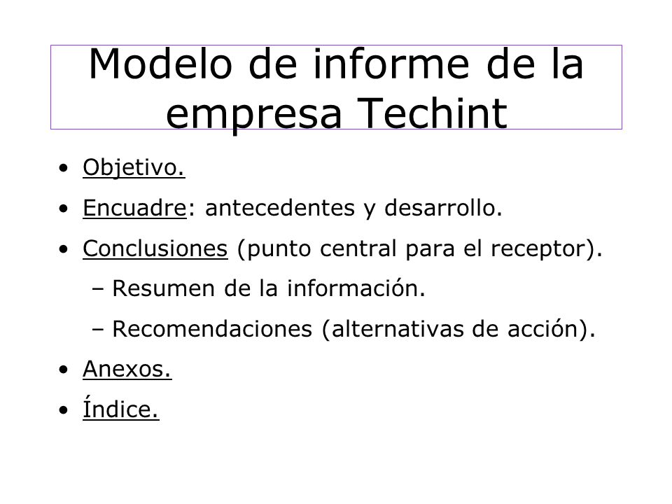 Modelo de informe de la empresa Techint