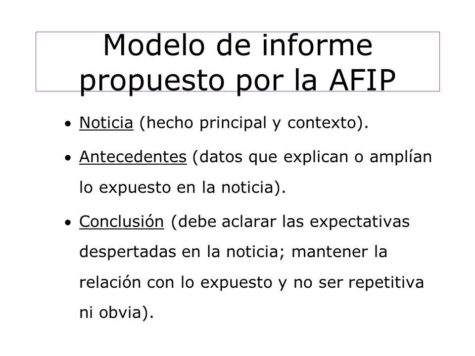 Modelo de informe propuesto por la AFIP