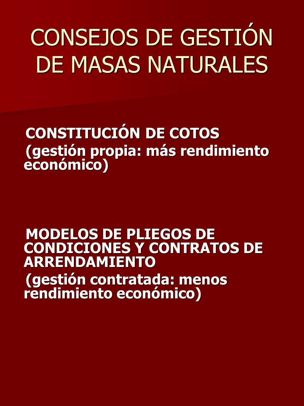 CONSEJOS DE GESTIÓN DE MASAS NATURALES
