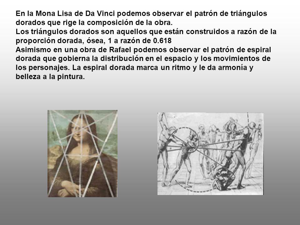 En la Mona Lisa de Da Vinci podemos observar el patrón de triángulos dorados que rige la composición de la obra.
