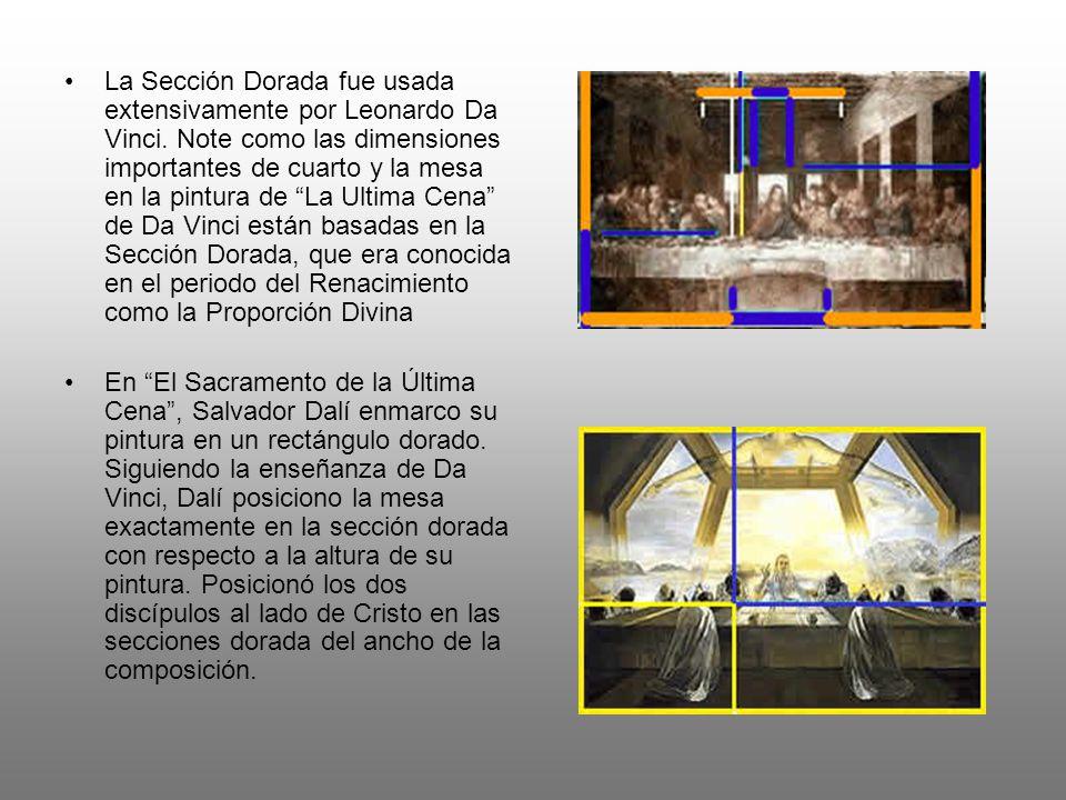 La Sección Dorada fue usada extensivamente por Leonardo Da Vinci