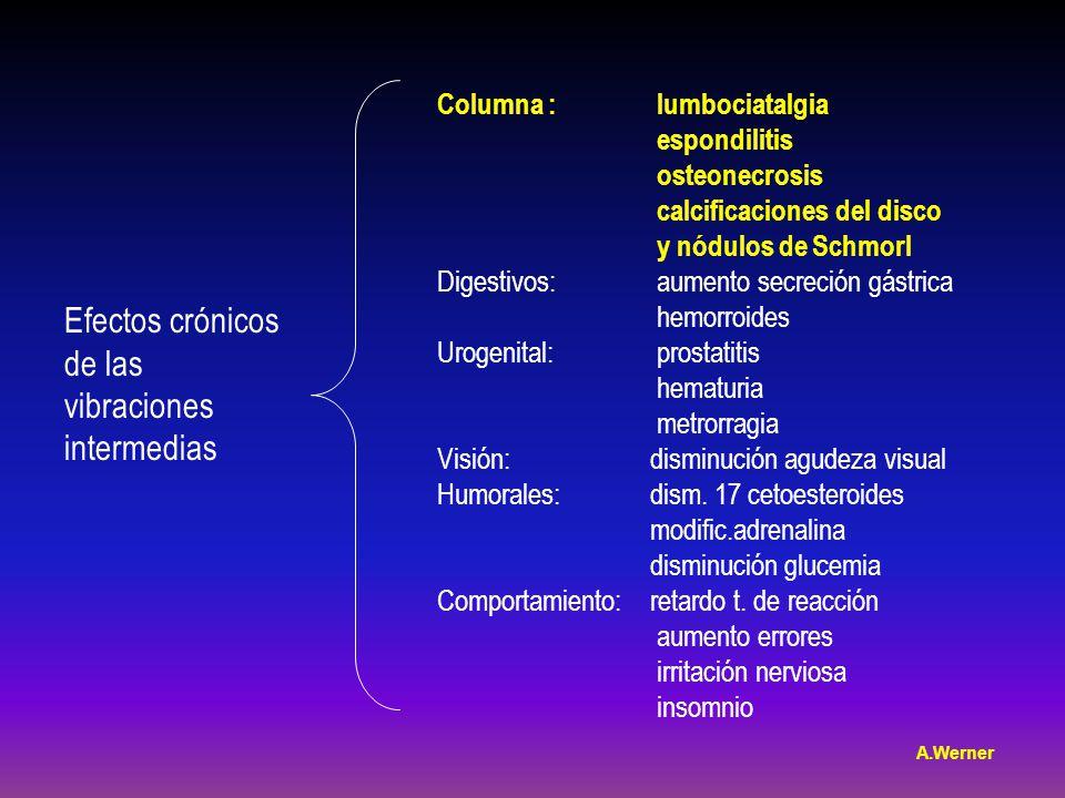 Efectos crónicos de las vibraciones intermedias