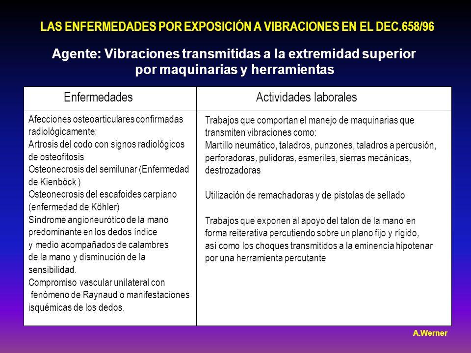 LAS ENFERMEDADES POR EXPOSICIÓN A VIBRACIONES EN EL DEC.658/96