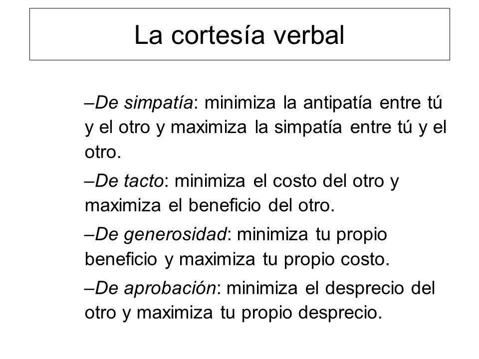La cortesía verbal De simpatía: minimiza la antipatía entre tú y el otro y maximiza la simpatía entre tú y el otro.