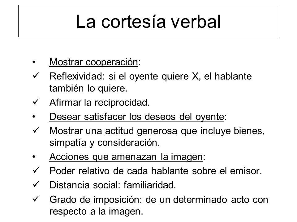 La cortesía verbal Mostrar cooperación: