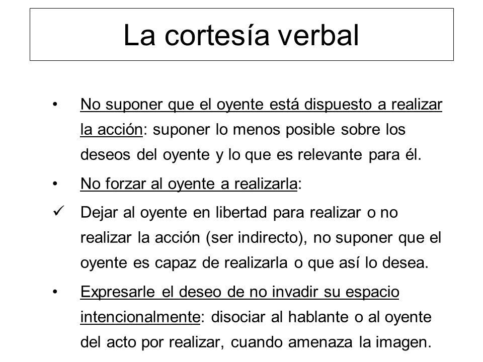 La cortesía verbal