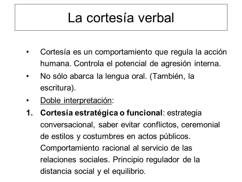 La cortesía verbal Cortesía es un comportamiento que regula la acción humana. Controla el potencial de agresión interna.