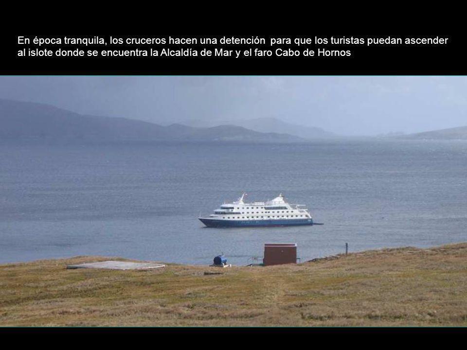 En época tranquila, los cruceros hacen una detención para que los turistas puedan ascender al islote donde se encuentra la Alcaldía de Mar y el faro Cabo de Hornos