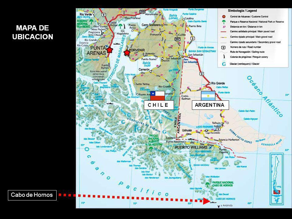 MAPA DE UBICACION C H I L E ARGENTINA Cabo de Hornos