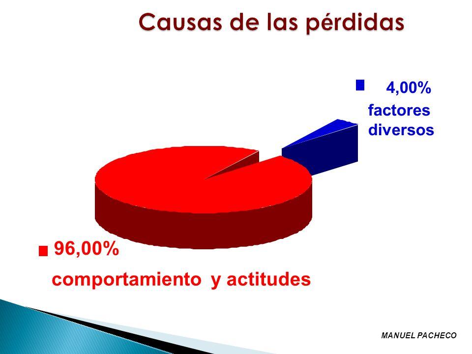 Causas de las pérdidas 96,00% comportamiento y actitudes 4,00%