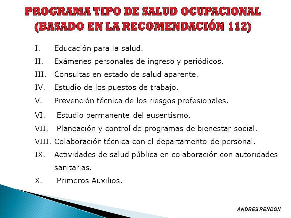PROGRAMA TIPO DE SALUD OCUPACIONAL (BASADO EN LA RECOMENDACIÓN 112)