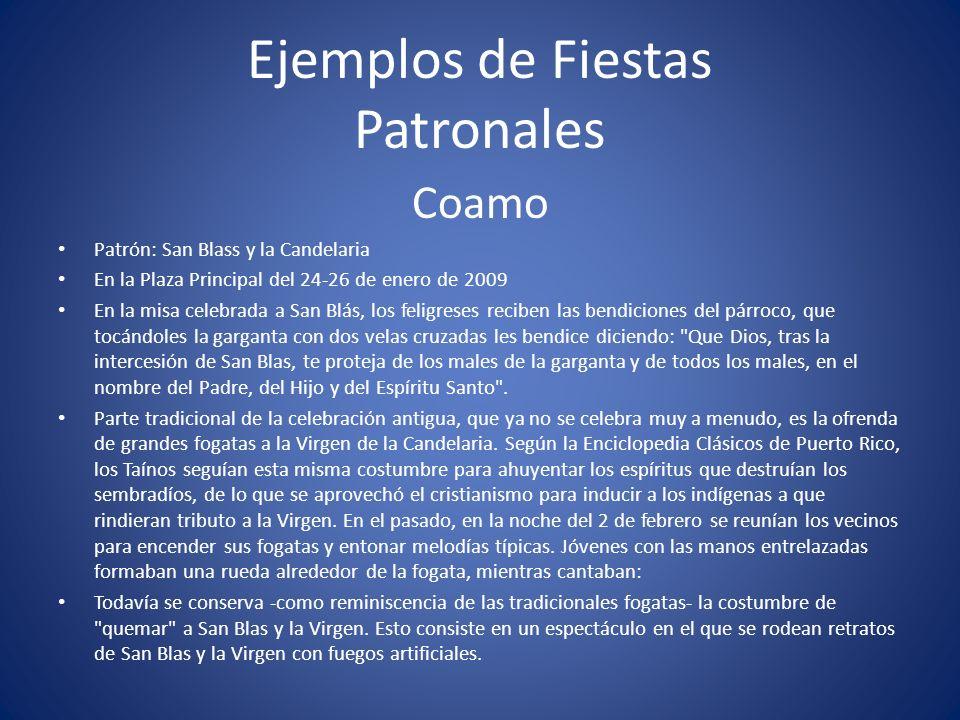 Ejemplos de Fiestas Patronales